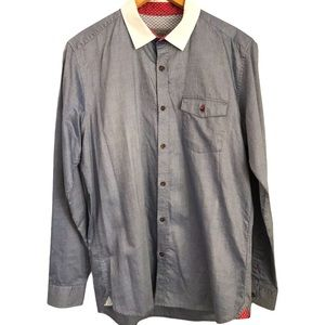 Ted Baker Grey Button Up Long Sleeve  Sz4